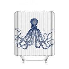Занавеска для душа, декор осьминога, морские создания синего цвета, Полиэстеровая ткань, набор для ванной комнаты с крючками, es Long, синий