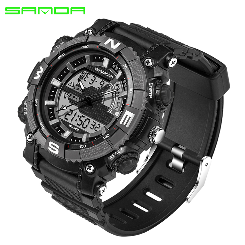 SANDA Military Sport Watch Men Top Brand Luxury Famous Electronic LED Digital Wrist Watch For Men Male Clock Relogio Masculino new military sport watch men top brand luxury waterproof electronic led digital wrist watch for men male clock relogio masculino