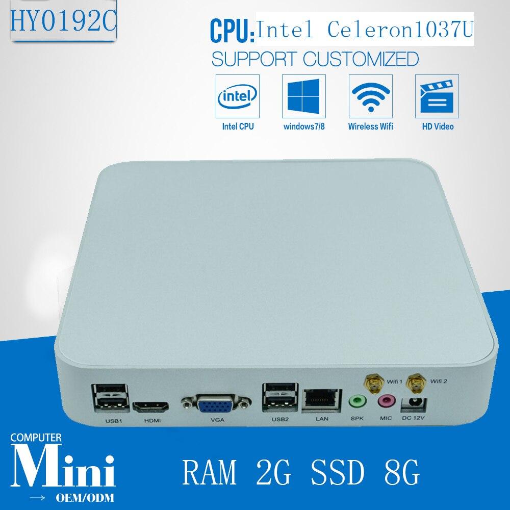 Fanless Mini Pc 1037u Industrial Computer Intel Fanless Itx Motherboard Htpc Support Wifi RAM 2G SSD 8G