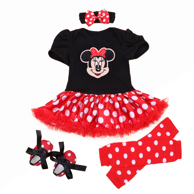 Christmas 2016 Newborn Minnie Dress 4pcs/set Baby Girls Clothes Toddler Girl Clothing Set Infant Minnie Mouse Costume Xmas Gifts