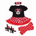 Natal 2016 do bebê recém-nascido Minnie vestido 4 pçs/set meninas roupa da criança da menina roupas Set infantil Minnie Mouse traje presentes de natal