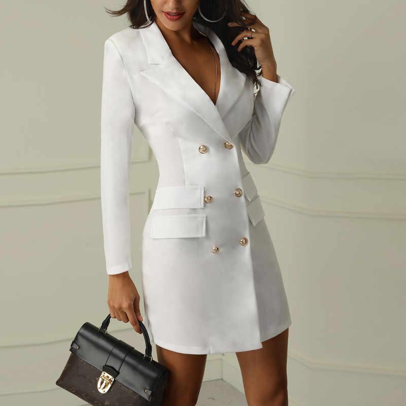 Helisopus Autumn Winter Suit Blazer Dress Women Double Breasted Slim Long Jackets Office Lady Elegant Long Sleeve Blazer