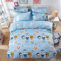 Blue Color Cartoon Kids Bedding Sets 4PC/Sets ,100% Polyester Cartoon Octonauts Boys Duvet Cover Queen Twin Size