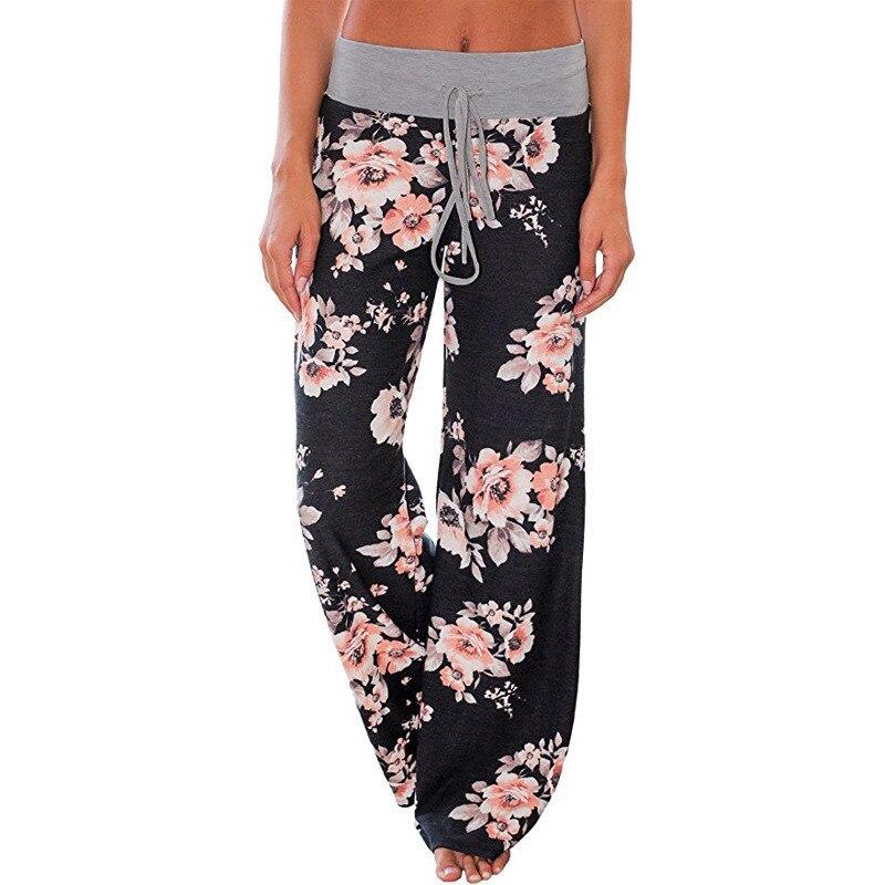 Pantalones holgados de pierna ancha de 2018 con estampado Floral para mujer, Pantalones rectos de cintura media, pantalones largos para mujer, pantalones de chándal de moda