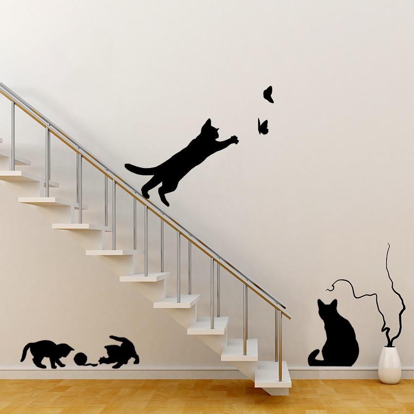Cat and Butterflies Wall Sticker 4