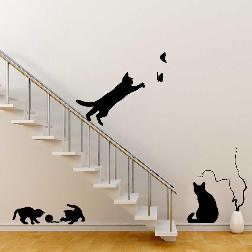 1 Set/Pak Baru Tiba Kucing Bermain Kupu-kupu Dapat Dilepas Stiker Dinding Dekorasi Stiker untuk Kamar Tidur Dapur Ruang Tamu Dinding