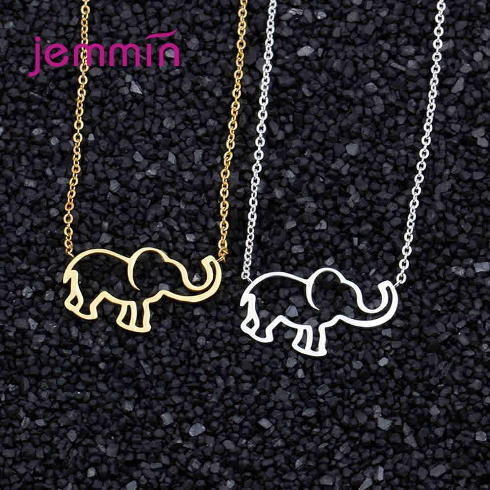 Hot Sale Elephant Pendant Necklace Trendy Concise Style 925 Sterling Silver And Gold Colour Exquisite High Quality