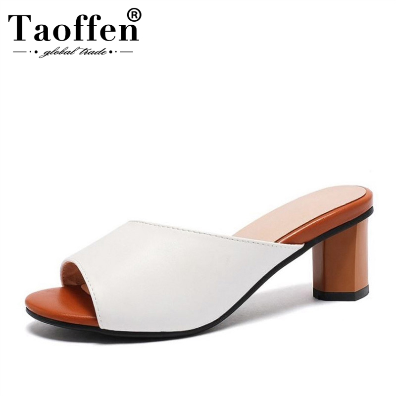 TAOFFEN Summer Sandals Women Peep Toe Solid Color High Heel Slippers Simple Daily Leisure Vacation Women Footwear Size 31-43