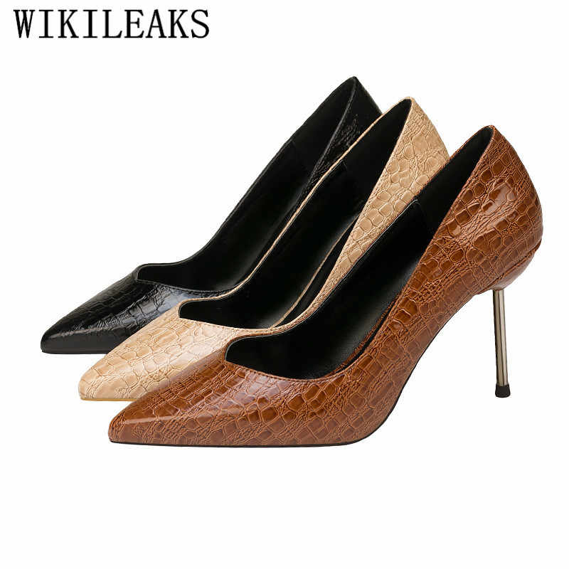 Đá Mô Hình Stiletto Phụ Nữ của Bơm Cao Gót Giày Cưới Thương Hiệu Người Phụ Nữ Bên Giày Nhọn Ngón Chân Sexy Gót Zapatos Mujer tacon