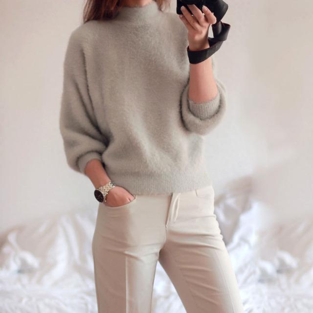 2016 nova inverno casual manga Lanterna solto grosso pulôver feminino camisola de gola alta camisola das mulheres das senhoras sólidos