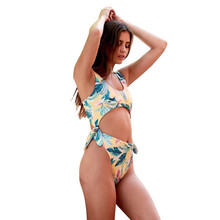 7f8752d358 One Piece Set Girl Swimming bikini Suit Lovely Knot Connect Swimsuit Expose  Belly Women Biquini Summer