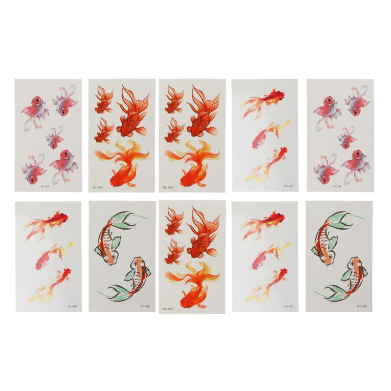 10 Sheet 3D Vivid Goldfish Tattoos Sticker Koi Pond Painting Resin Jewelry Craft