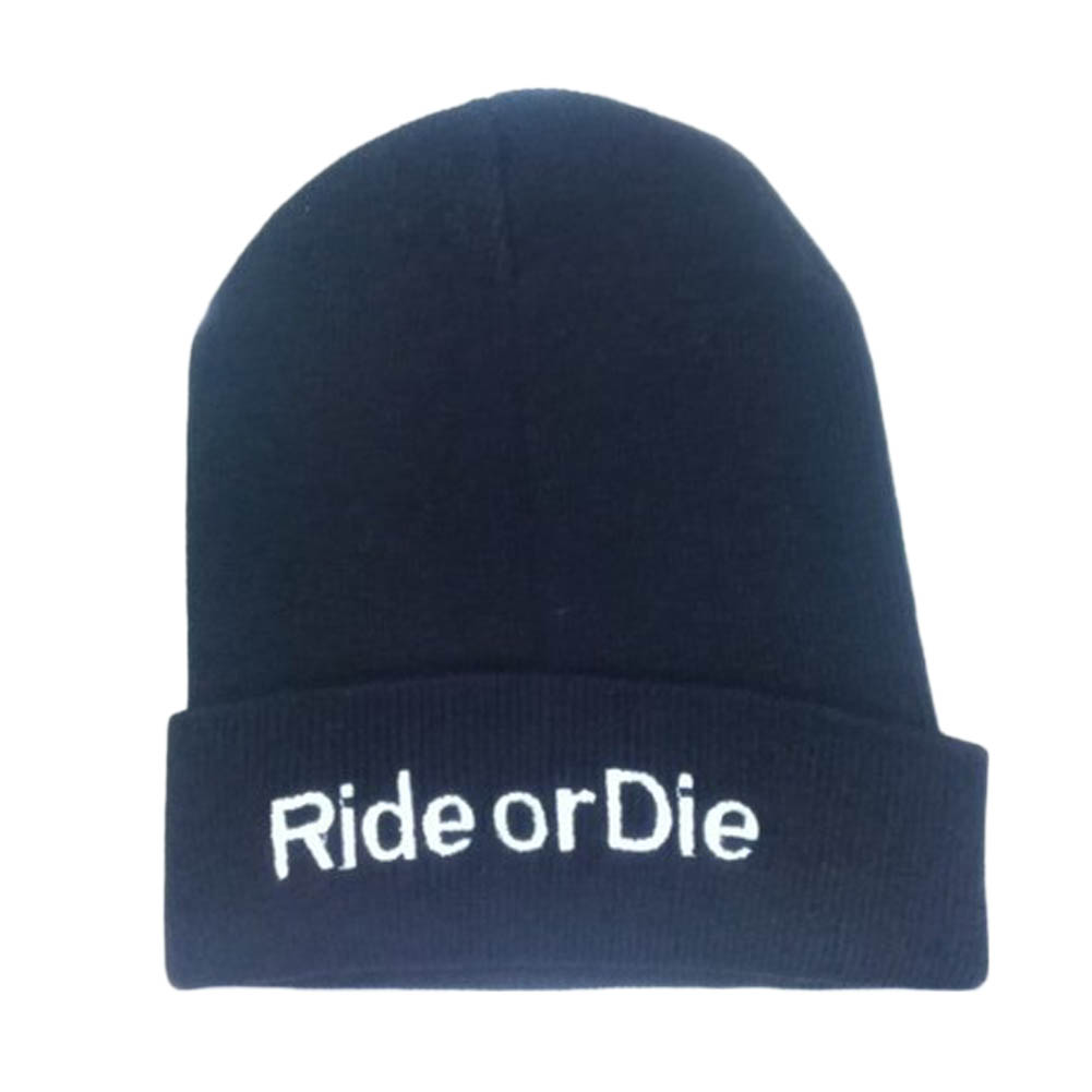 New Unisex RIDE OR DIE  Men Women Warm Winter Knit hats Gangster Caps Cuffed Beanie Skull Cap Hipster Rap Hip Hop Hat coolboy rs 8a 2 5 inch handheld game console blue