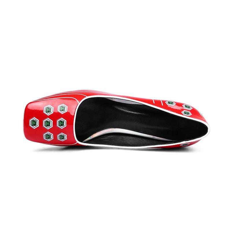 rouge Cuir Étrange Haut De bleu Dames Brevet Chaussures Noir Nouveau Peau Printting Talon Talons Cristal En Porc Bureau Femmes Printemps Pompes on Slip 4EBgAPqw