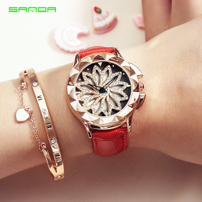 SANDA 360 Degree Rotate Quartz Watch Women Casual Ladies 30M Waterproof Watches Leather Strap Clock Wristwatch relogio feminino