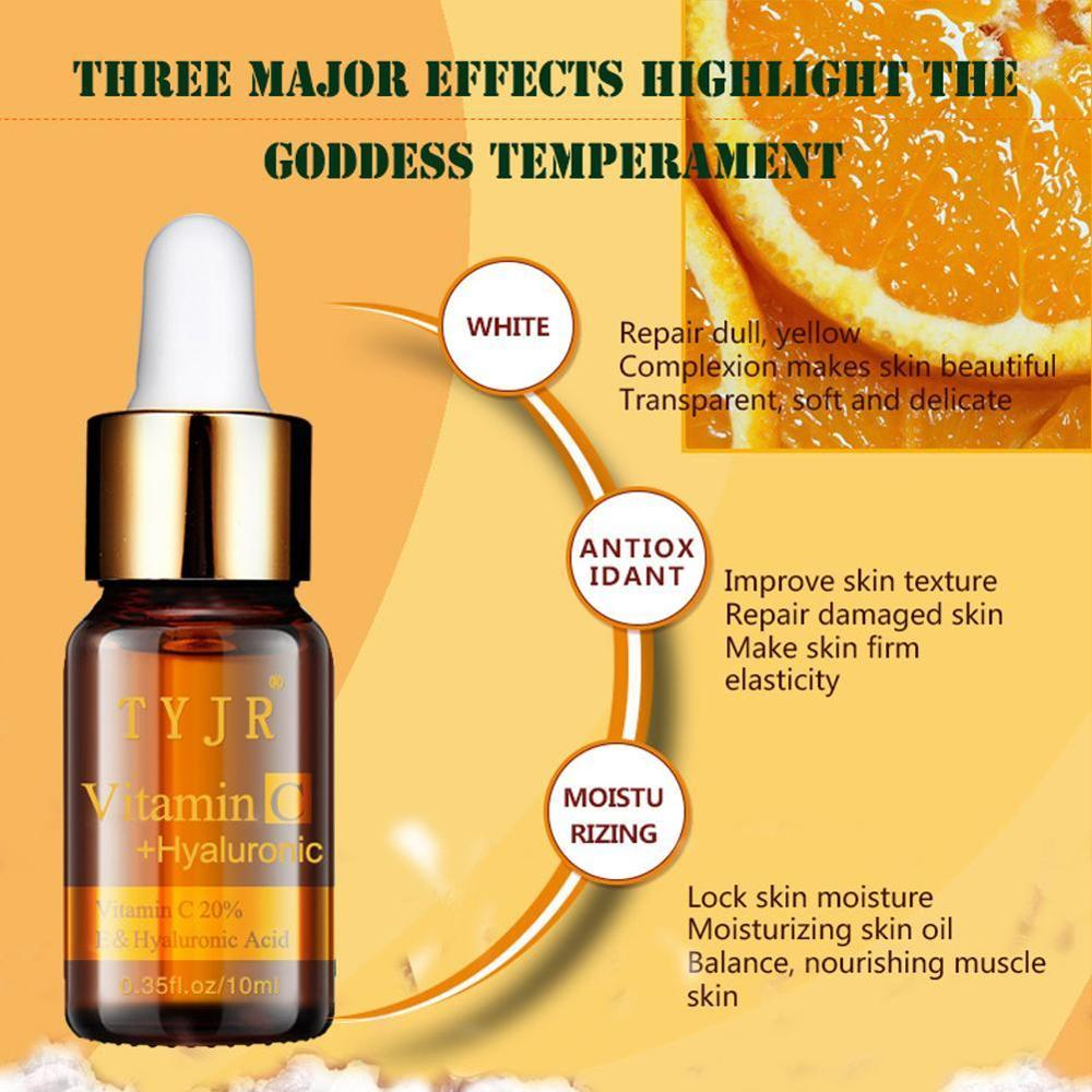 100% Pure Vitamin C Serum liquid Freckle Removal Acne Scars Hyaluronic acid Anti-wrinkle VC Face Serum