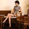 Floral Retro Charme Cetim Mini Cheongsam Qipao Chinês Tradicional Vestido de Noite QP21