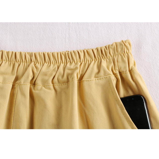 Surmiitro 100% Cotton Midi Summer Skirt Women 2021 Fashion Korean Pocket A-line Sun School Black White High Waist Skirt Female 5