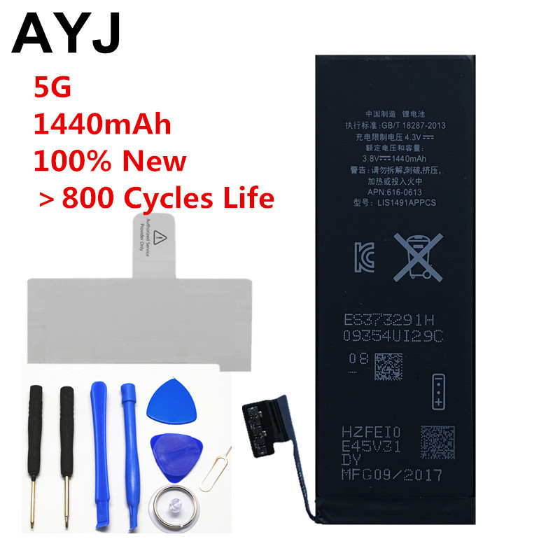 AYJ 100% New AAA Quality Phone Battery for Iphone 5 5g Durable High Real Capacity 1440mah Zero Cycel Free Tools And Sticker
