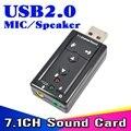 Mini External USB 2.0 Tarjeta de Sonido Virtual de 7.1 Canales 3D 12 Mbps Adaptador de Micrófono Altavoz Micrófono de 3.5mm Jack de Audio Auriculares estéreo