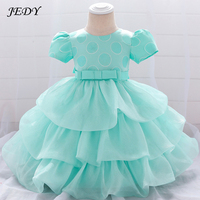 1 To 24 Months Kids Cotton Lining Party Layered Dress New Born Wedding Baptism Clothes 1 Year Girl Baby Birthday Princess Dress