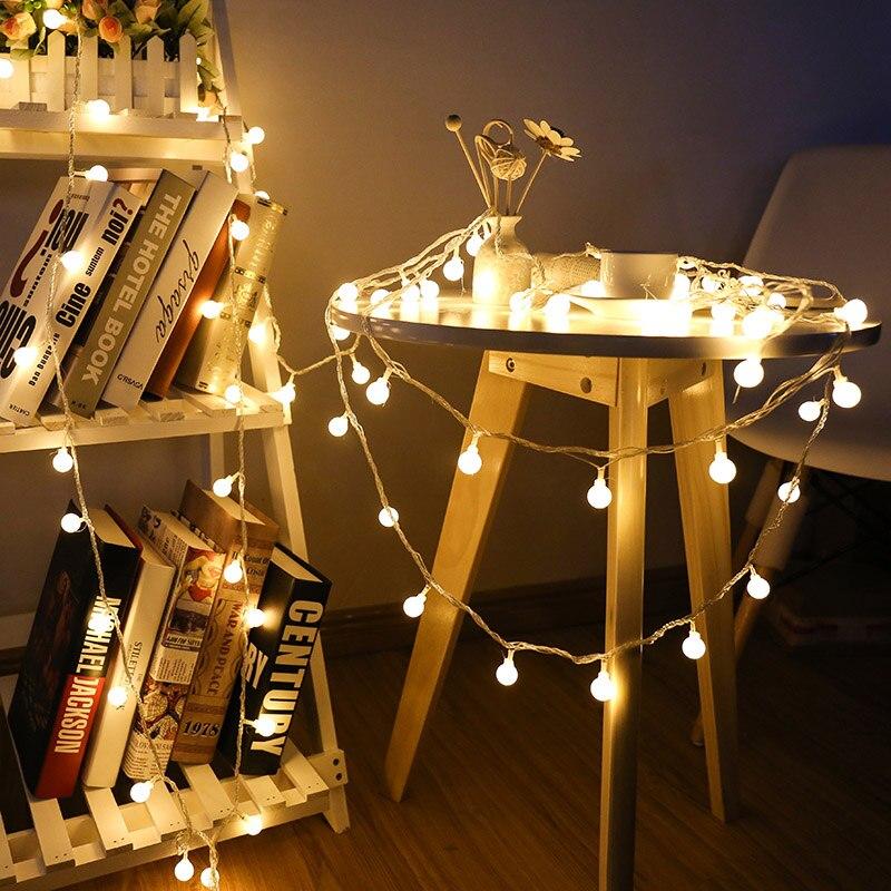 Nuevo 1,5 m 3 M 6 m guirnalda M de hadas LED bola cadena luces impermeables para árbol de Navidad boda hogar Decoración interior con pilas