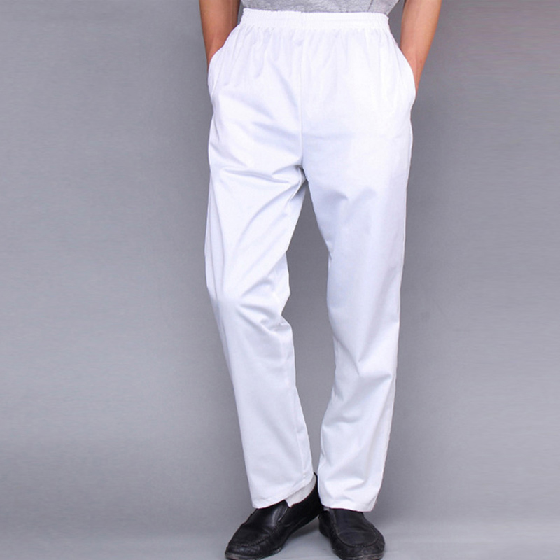 2020 New Men Restaurant Uniforms Pants Kitchen Trouser Women Chef Pants Elastic Food Service Pants Chef Working Pants Plaid