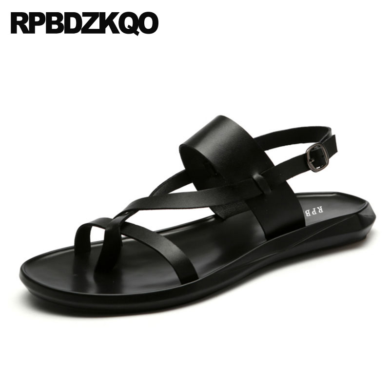 Mens Roman Fashion gladiator Buckle Strap open toe leather Beach shoes sandals #