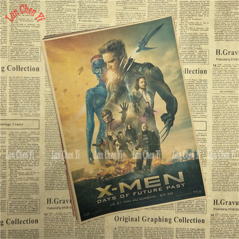 X Men Series Nostalgic Matte Kraft Paper Poster Office Gift Room ...