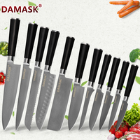 DAMASK VG10 Japanese Damascus Chef Knife 73 Layer Damascus Steel Kitchen Knives Bread Slicing Santoku Knife Cutlery Cooking Sets