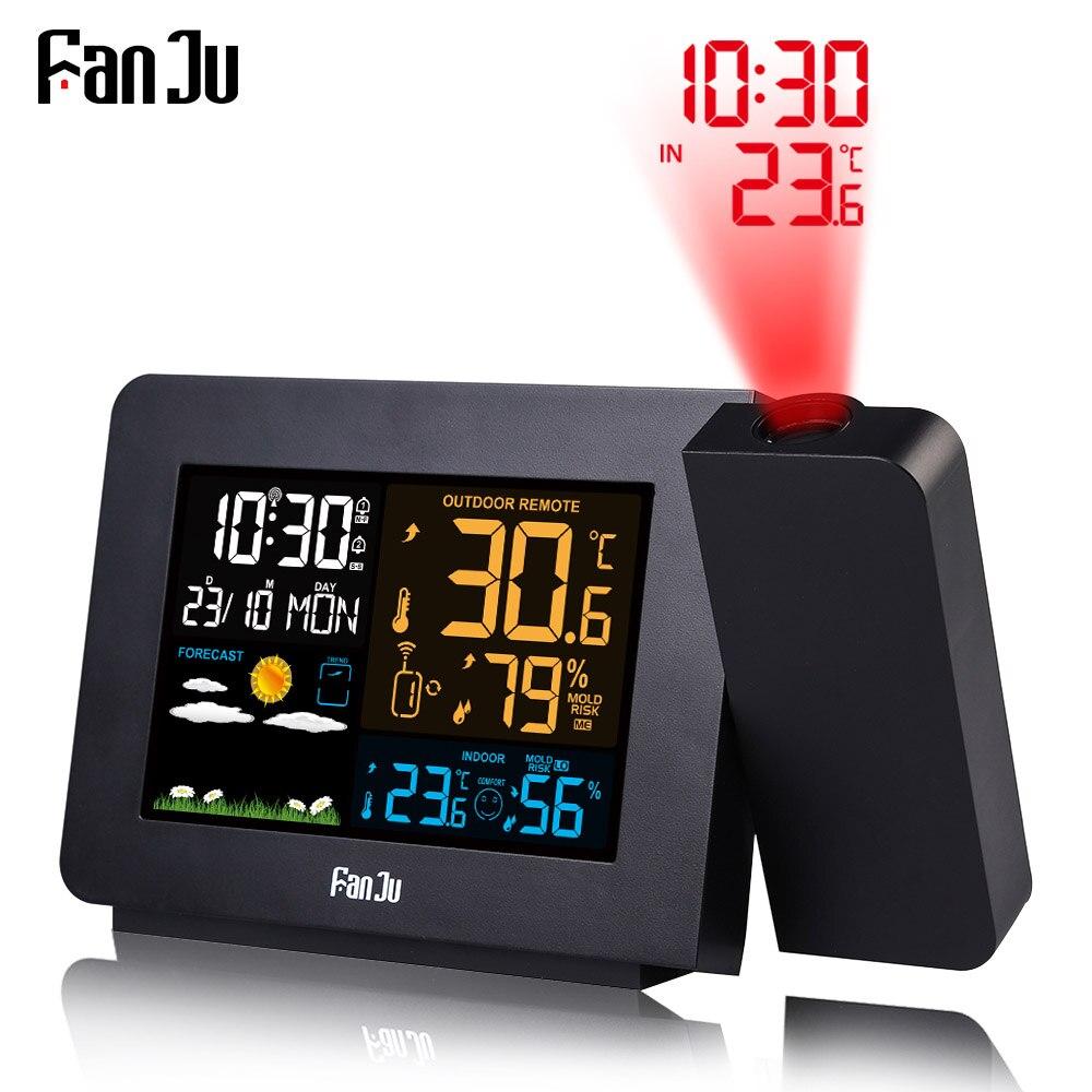 Horloge de Projection d'alarme FanJu thermomètre hygromètre Station météo sans fil montre numérique Snooze bureau Table projet Radio horloge