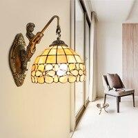Tiffany europeia flor do jardim escudo sereia lâmpada de parede cabeceira escada banheiro espelho