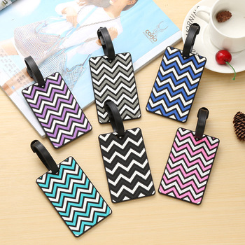 цена на Fashion Wave Striped Pattern Travel Luggage Tag Holder Silicone PVC Luggage Label Travel Accessories