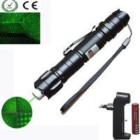 Haute Puissance Laser vert Pointeur 1000 m 5 mW Vert Accrocher-type Extérieure Longue Distance Laser Vue + 18650 batterie + Chargeur