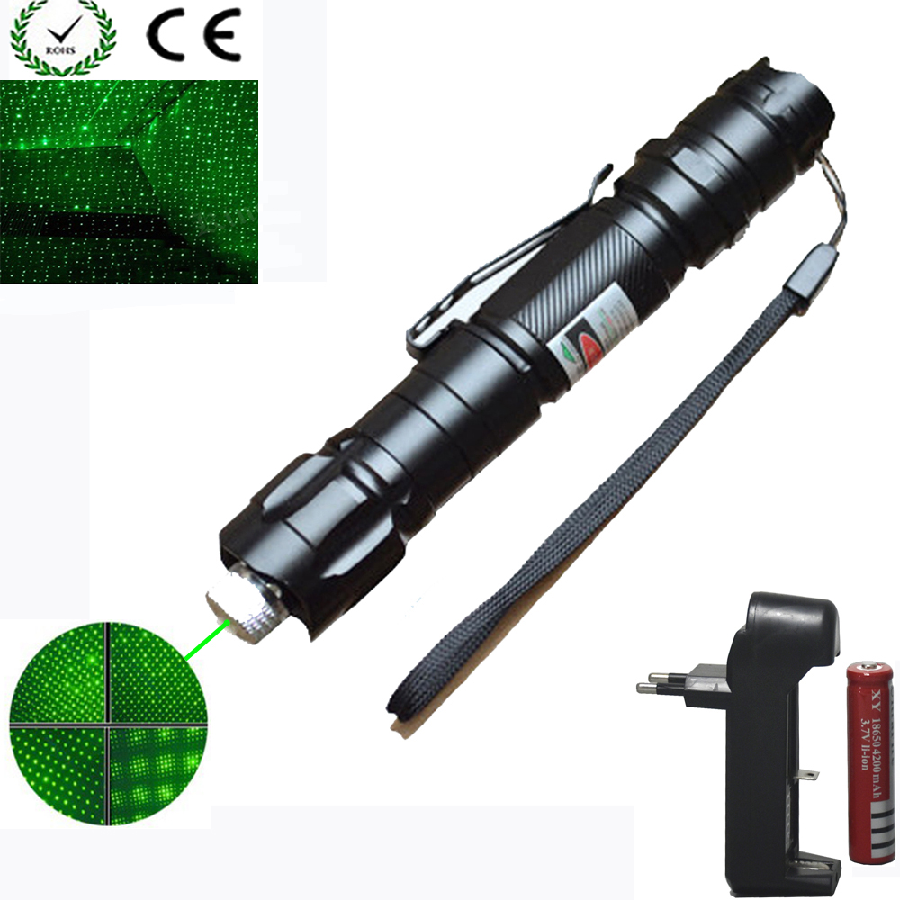 High Power green Laser Pointer 1000m 5mW Green Hang-type Outdoor Long Distance Laser Sight +18650 Battery+Charger