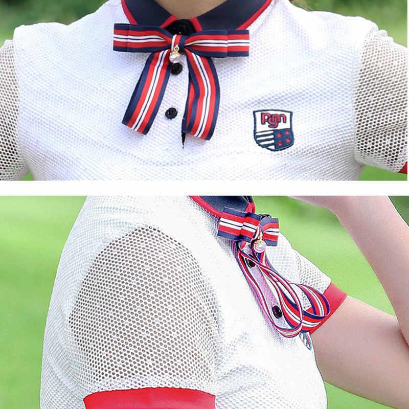 PGM клетчатые женские платья для гольфа, женская спортивная одежда с короткими рукавами, дышащая белая одежда с круглым вырезом, короткое платье для тенниса