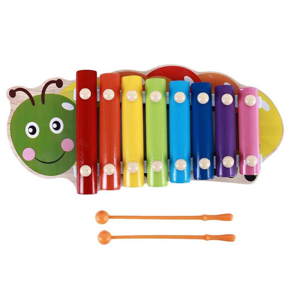 Металлический деревянный Монтессори, игрушки, цветные, яркие, фортепиано, детские, стук, Радужный цвет, Сова, дерево, ранний учебный, обучающий пазл, игрушка