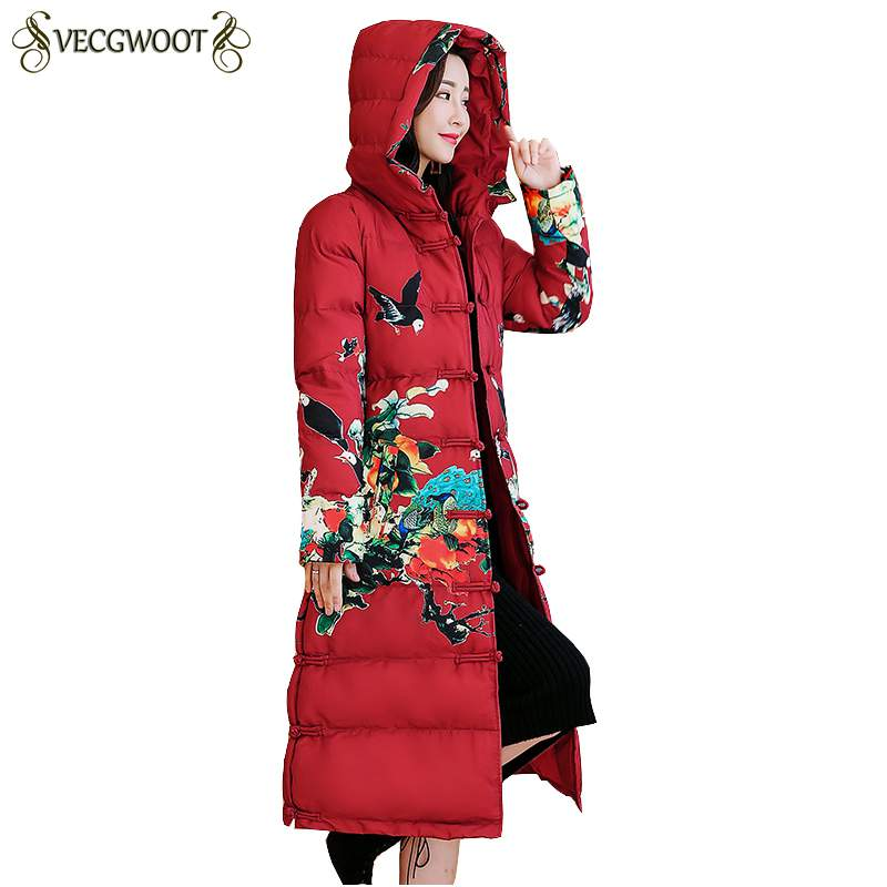 red Long parka jacket women plus size large thick warm coat winter hooded floral Chinese outerwear