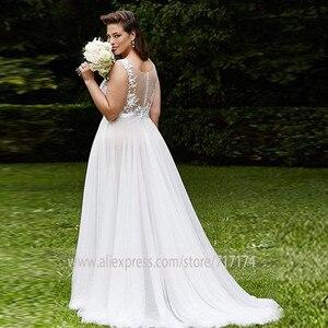 Image 2 - Decote de tule de colher macia applique sem mangas vestido de noiva com uma ilusão de cinto botão traseiro trem varredura vestido de noiva