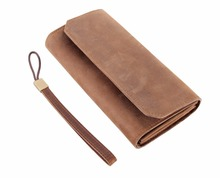Simple Brown Long Clutch Bag Men Crazy Horse Leather Long Wallet Women Luxury Fashion Hand-held Bag Evening Bag Purse With Strap