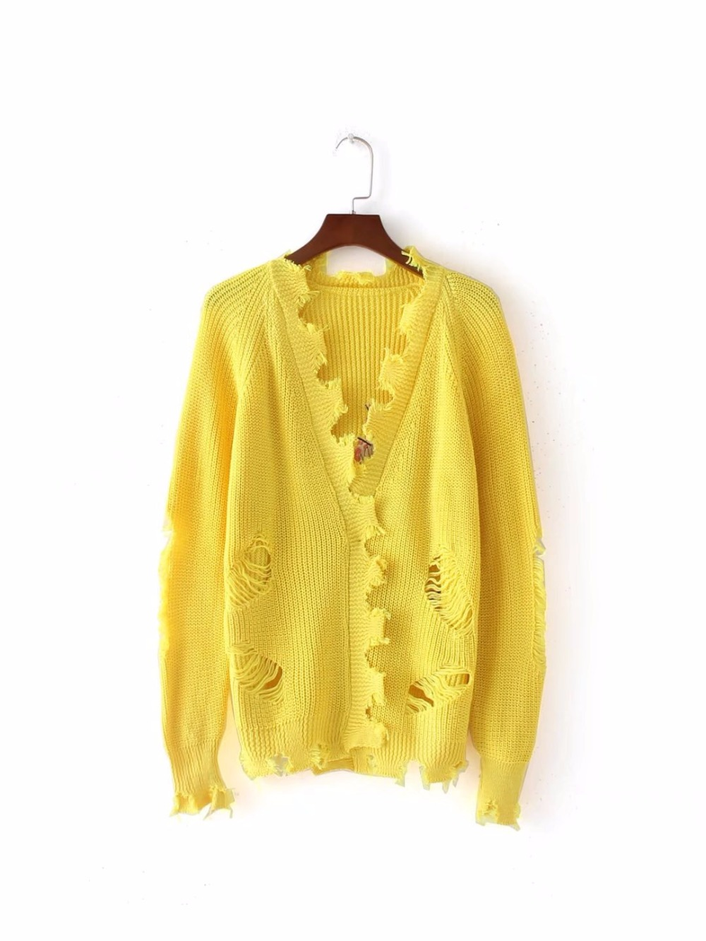 2017 New Arrive Embroidery Cardigans Sweaters Women Fashion Yellow ...