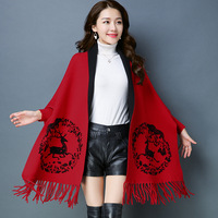 5809 New Fashion Thickening ethnic Cape Tassel Scarf Women Winter knitted Coat Ladies shawls and wraps