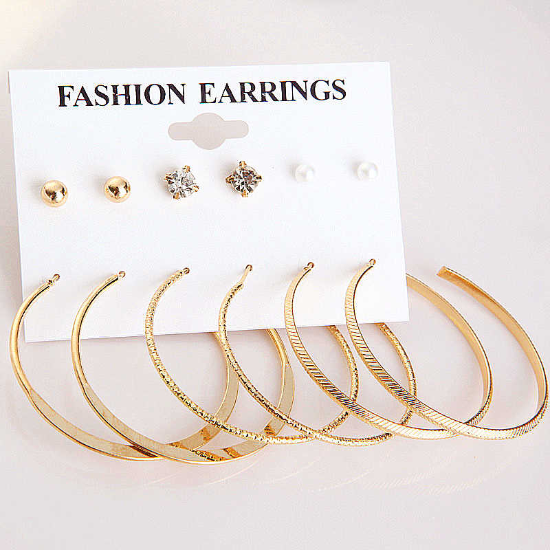 E0472 New Arrival Earring Sets 3 Pairs Gold Hoop Earrings For Women Girls Punk Style Statement Ear Jewelry Wholesale Free Ship