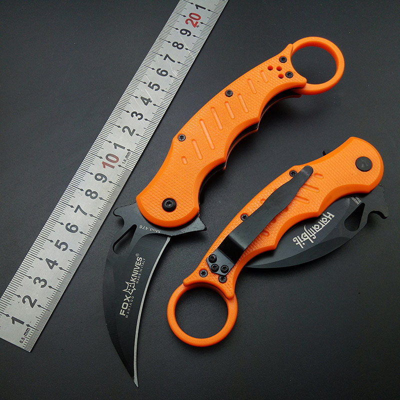 Orange Styles FOX Karambits 440C Claw Stainless Steel Blade Plastic Handle Pocket Knife Survival Tool Outdoor Gift Camping tool