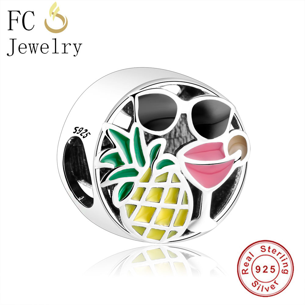 FC Jewelry 925 Sterling Silver European Pineapple Sunglass Margaret Summer Fun Beads Fit Pandora Charms Bracelets Berloque Gifts