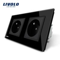 LIVOLO 16A Franse Standaard, muur Elektrische/Power Dubbele Socket/Plug, Black Crystal Glass Panel, VL-C7C2FR-12