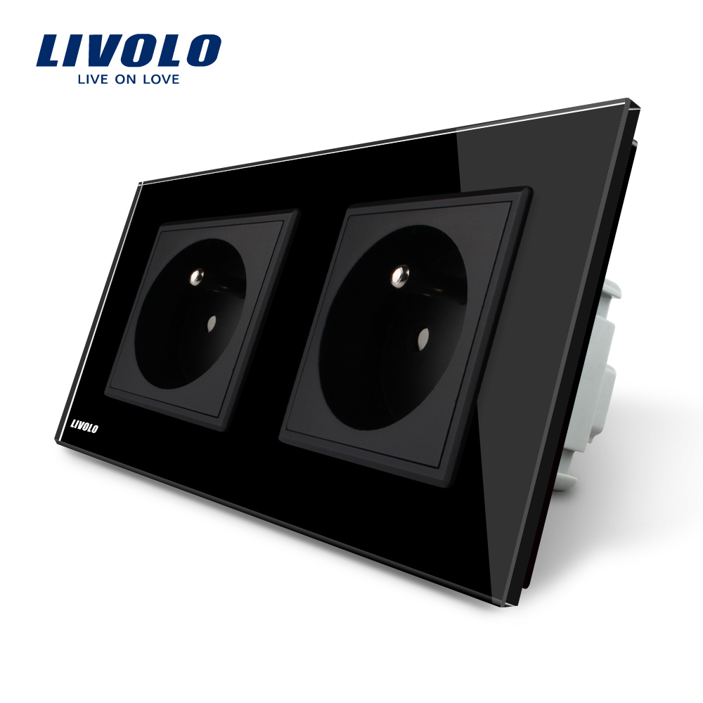 LIVOLO 16A French Standard, Wall Electric / Power Double Socket / Plug, Black Crystal Glass Panel,VL-C7C2FR-12