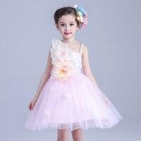 Correa de la flor al por menor de alta calidad de Un Solo hombro vestido de cuatro colores diferentes kid party girl vestido con pétalo T305