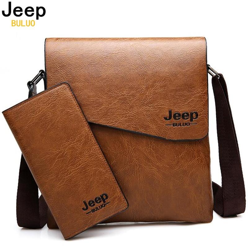 Hombres bolso JEEP BULUO famosa marca de 2 piezas conjunto de cuero de hombre de mensajero bolso de negocios viajar bolsas hombre bolso Cruz bolsas