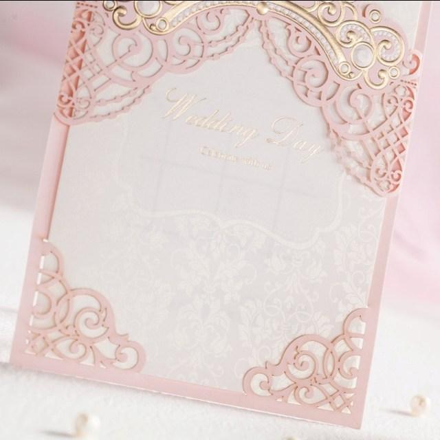 Online Shop Wishmade Personalized Elegant Pink Wedding Card
